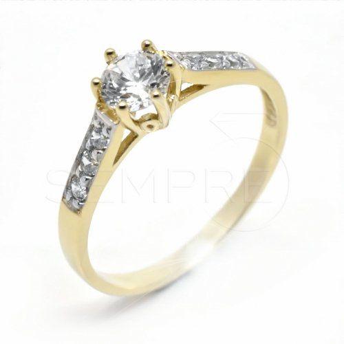 Sokköves sárga arany eljegyzési gyűrű