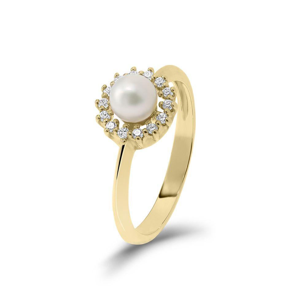 Tenyésztett gyöngy sárga arany gyűrű
